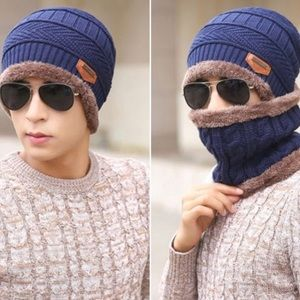 Neck warmer winter hat knit cap scarf cap 4 men